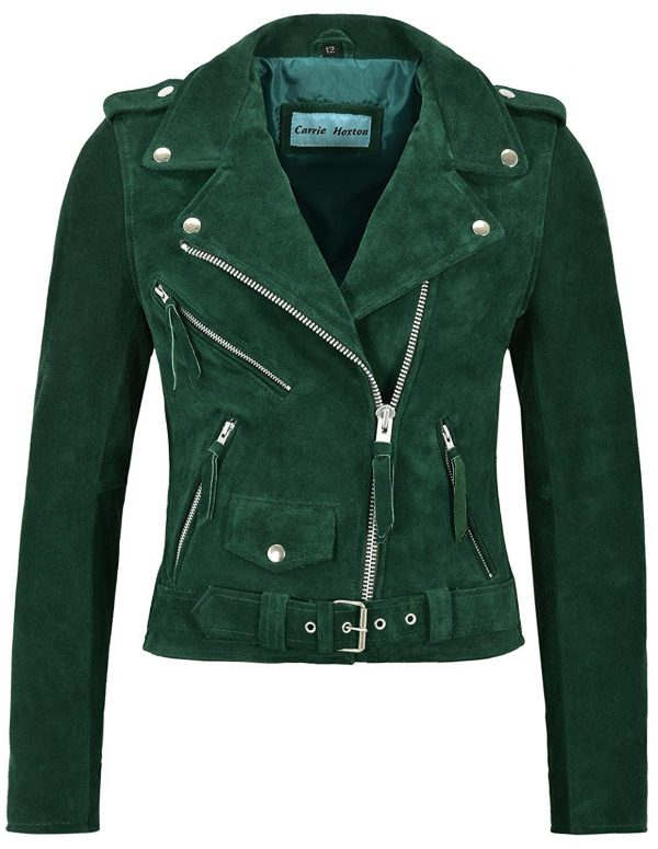 Brando Leather Fitted Green Suede Jacket