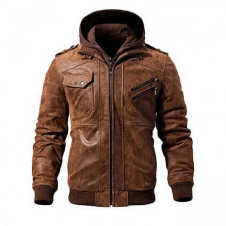 Brown Genuine Leather Motorcycle Jacket Bomber Style Removable Hood Jackets