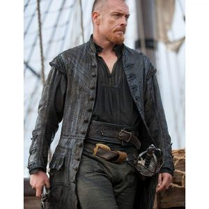 Captain Flint Sail Pirate Leather Black Coat