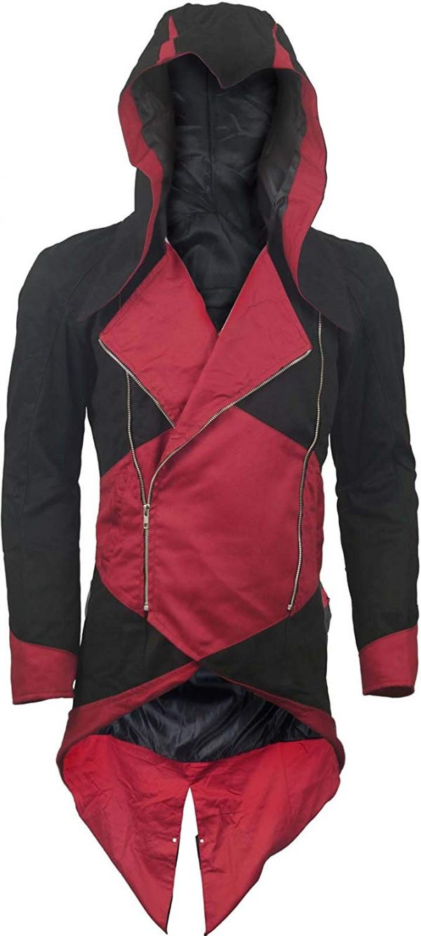 Connor Kenway Denim Red & Black Cotton Trench Coat