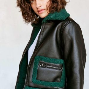 Green fur and black leather Silence + Noise Women's Green Opia Vegan Sherpa Leather Jacket