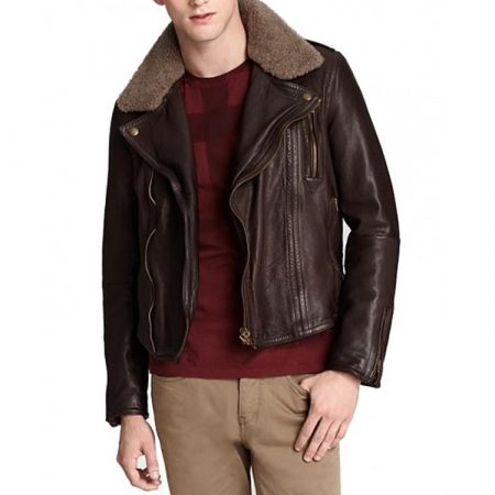 Harry Styles Brown with Fur Collar Leather Jacket