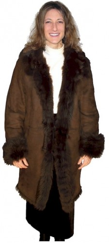 Ladies Dark Brown Long Hair Toscana Shearling Coat