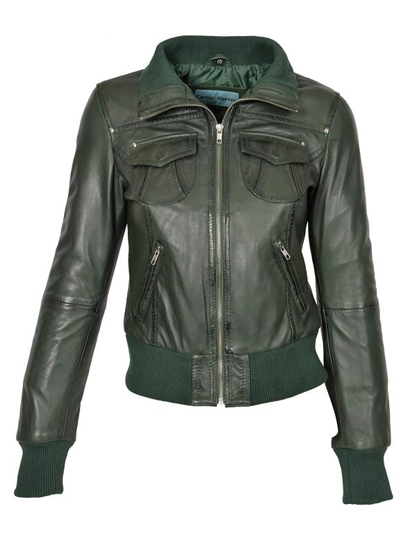 Ladies Green Bomber Real Leather Jacket
