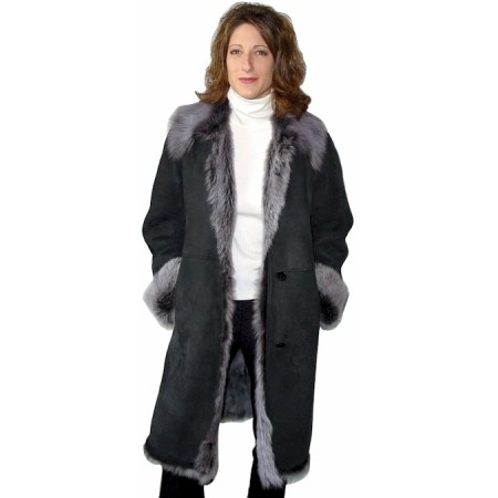Ladies Grey Long Hair Toscana Shearling Coat
