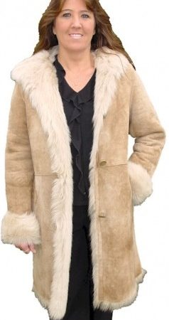 Ladies Olympic Tan Long Hair Toscana Shearling Coat
