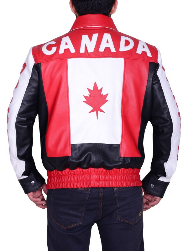 Men Canadian Flag Bomber Leather Jacket