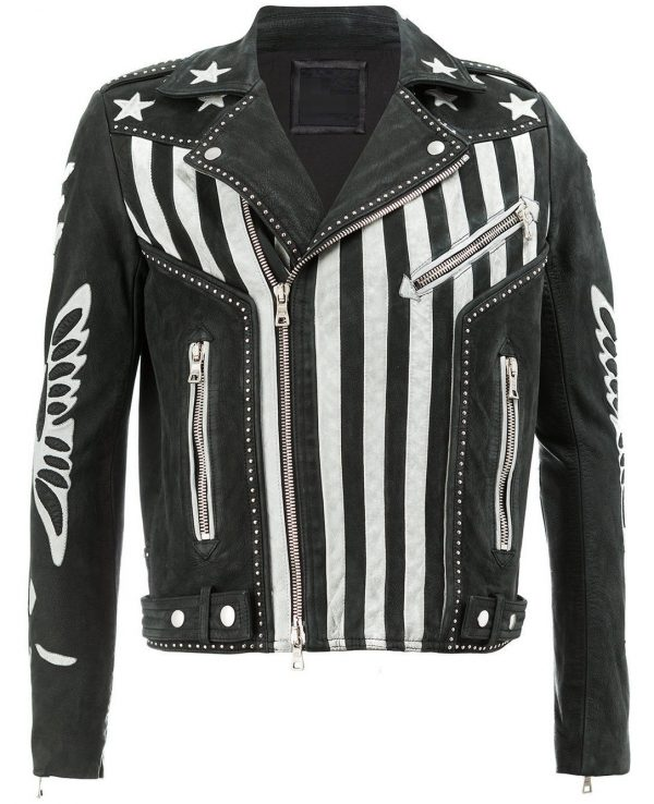 Mens American Flag Print Designer Leather Jacket
