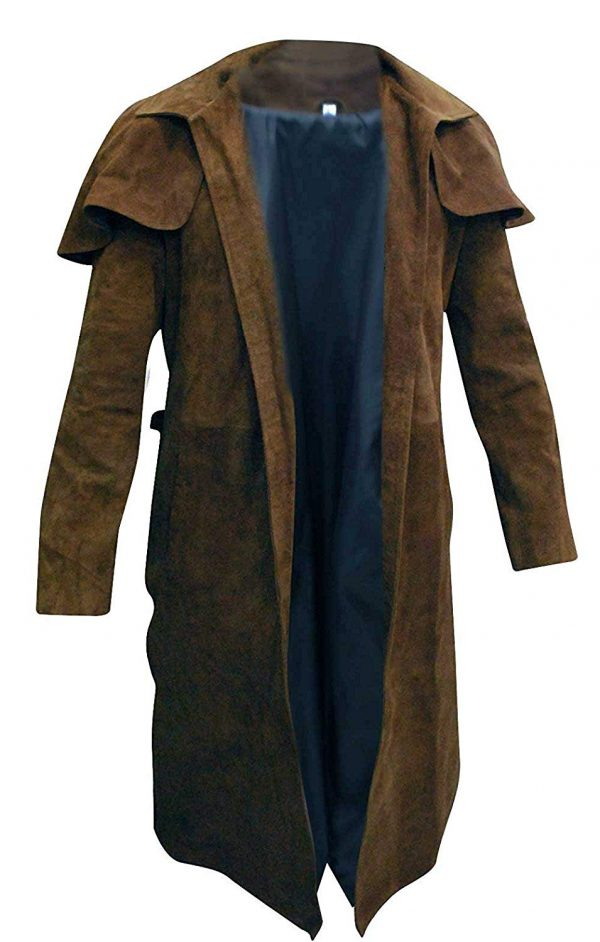 Mens Brown Long Length Suede Leather Trench Coat