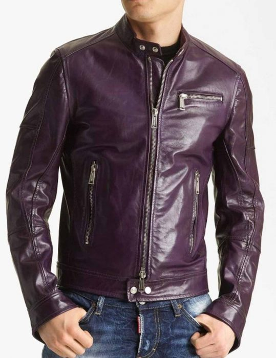 Mens Casual Purple Motorcycle Jacket