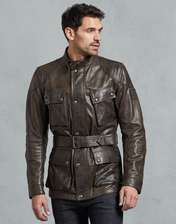 Mens TrailMaster BlackBrown Panther Leather Coats