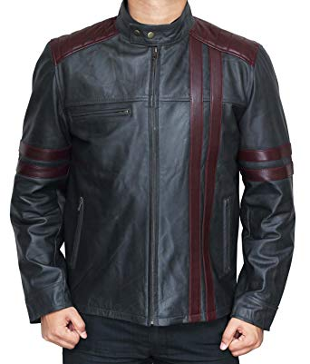 Nashville Cafe Racer Burgundy Wine Stripe Leather Jackets