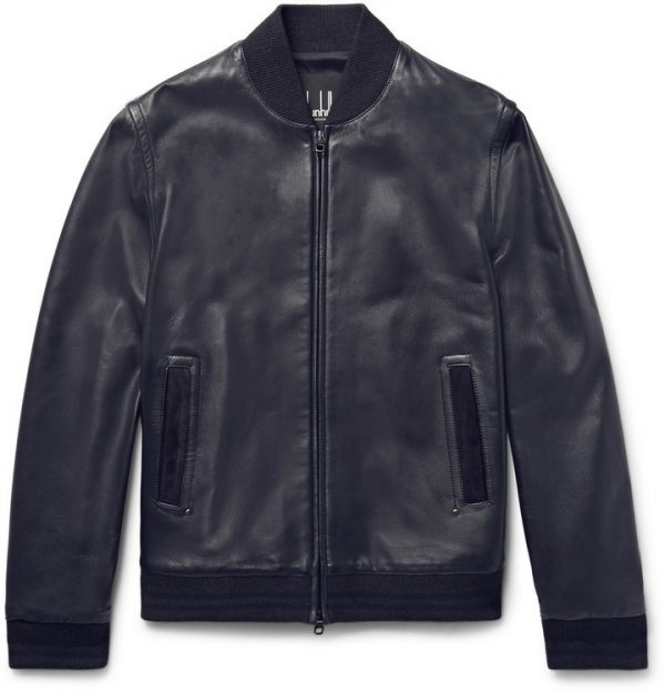 Navy Suede Bomber Trimmed Leather Jacket
