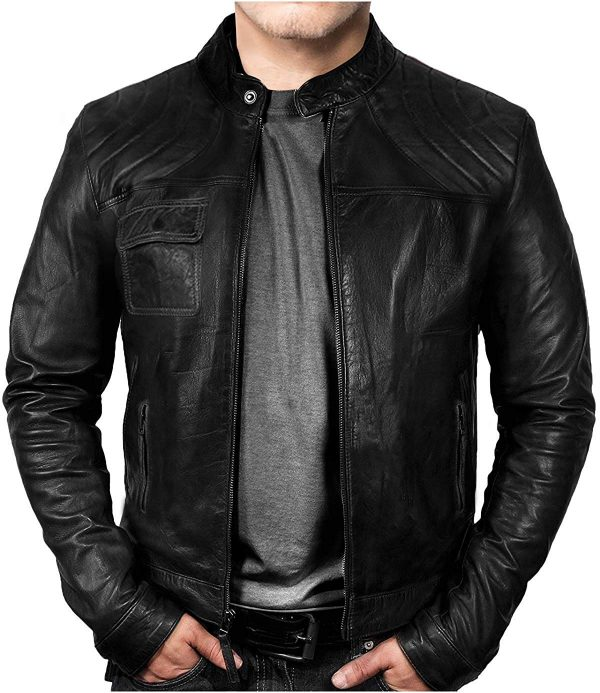 New Mens Cafe Racer Black Leather Jacket
