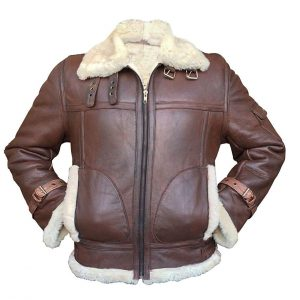 Shealing Bomber Aviator Sheepskin Leather Jacket