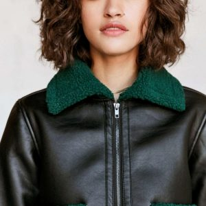 Silence Plus Noise Womens and Mens Green Opia Vegan Sherpa Leather Jacket
