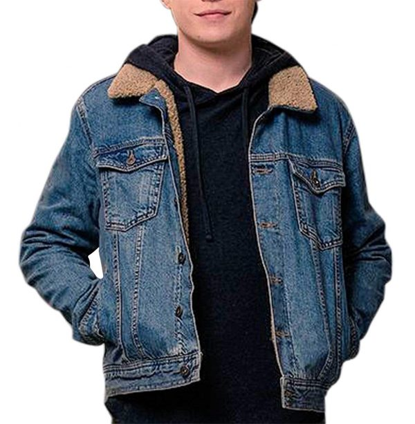 Simon Nick Robinson with Fur Blue Denim Jacket