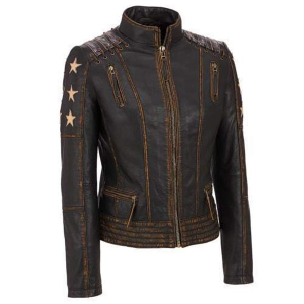 Stars Biker Café Racer Distressed Leather Brown Moto Jacket