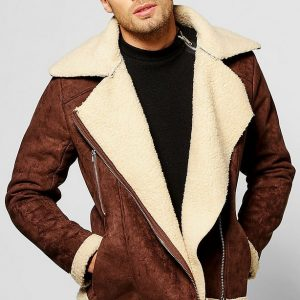 Suedestte Aviator Fur Fully Borg Lined Jacket