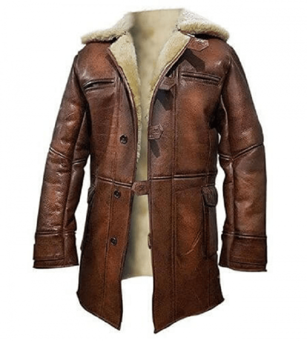 Tom Hardy Bane Dark Knight Lambskin Shearling Genuine Leather Pea Coat