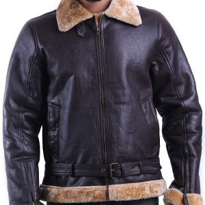 Tom Hardy Dunkirk Brown Shearling Bomber Jacket