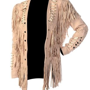 Women Western with Fringes Beads and Bones Brown Suede Leather Jacket