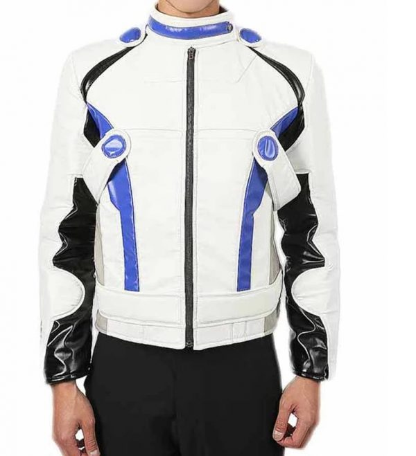 Mass Effect Andromeda White Blue Leather Jacket