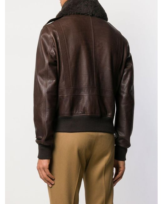 AMI Shearling Collar Brown Leather Jacket back