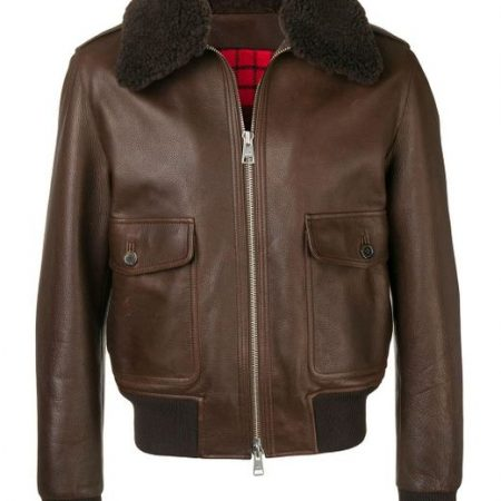 AMI Shearling Collar Brown Leather Jacket front