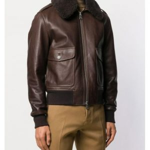 AMI Shearling Collar Brown Leather Jacket side