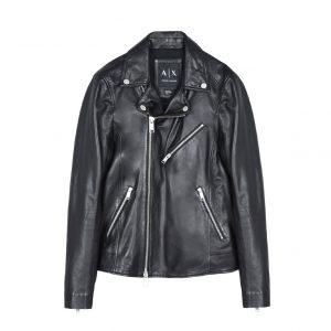 Armani Exchange Leather Moto Jacket