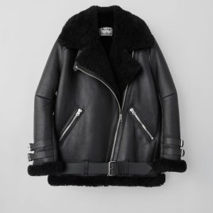 Aviator Shearling Black Leather Jacket front