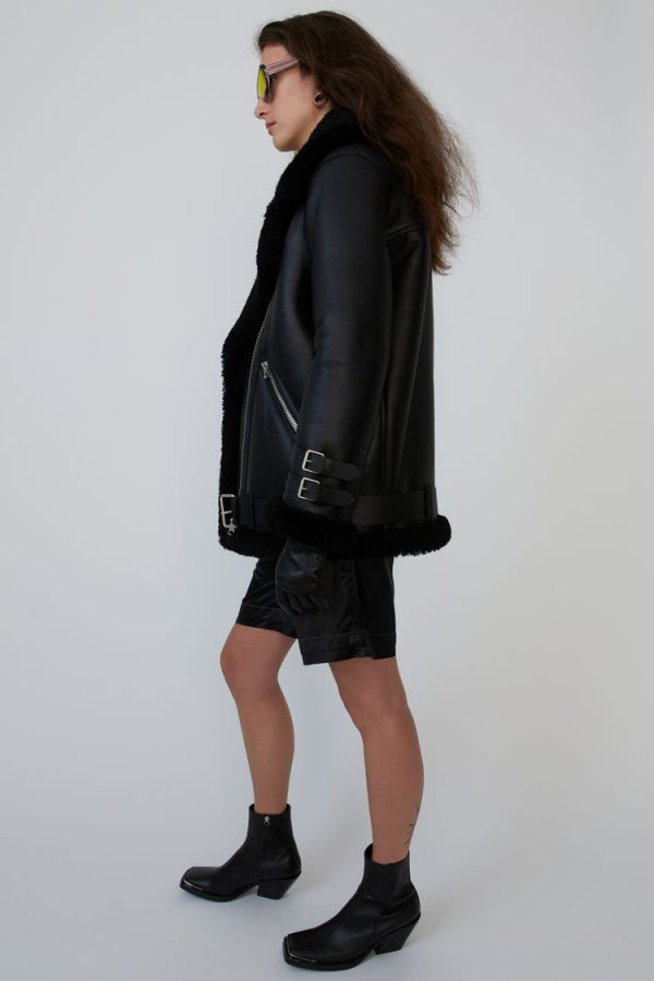 Aviator Shearling Black Leather Jacket side