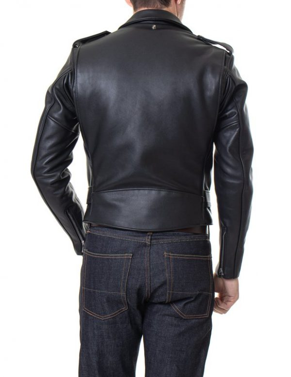 Classic Perfecto Steerhide Leather Black Motorcycle Jacket back