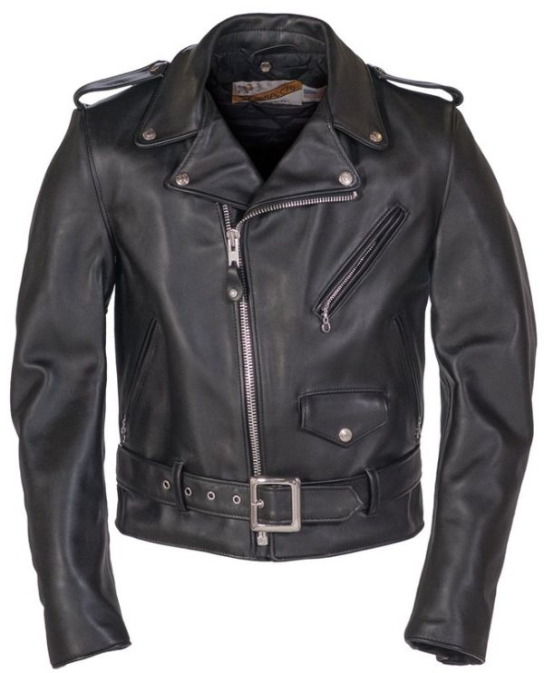 Classic Perfecto Steerhide Leather Black Motorcycle Jacket front