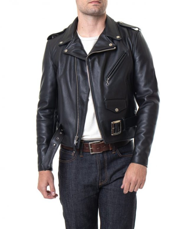 Classic Perfecto Steerhide Leather Black Motorcycle Jacket full front