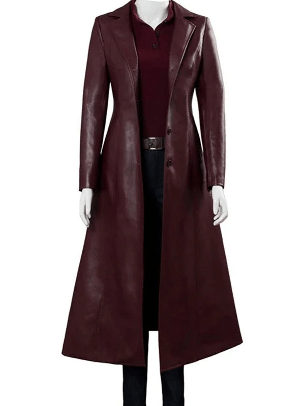 Dark Phoenix Sophie Turner Maroon Leather Coat