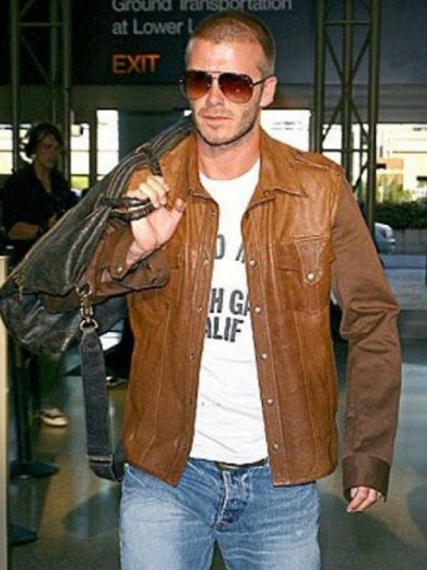 David Beckham Brown Leather Jacket