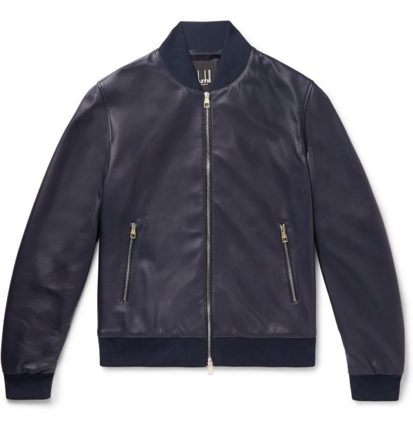 Dunhill Blue Leather Jacket front