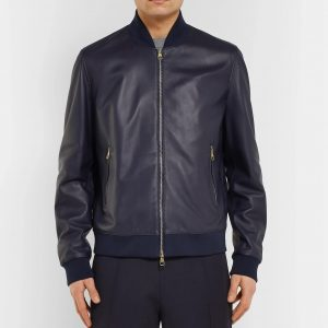 Dunhill Blue Leather Jacket ful front