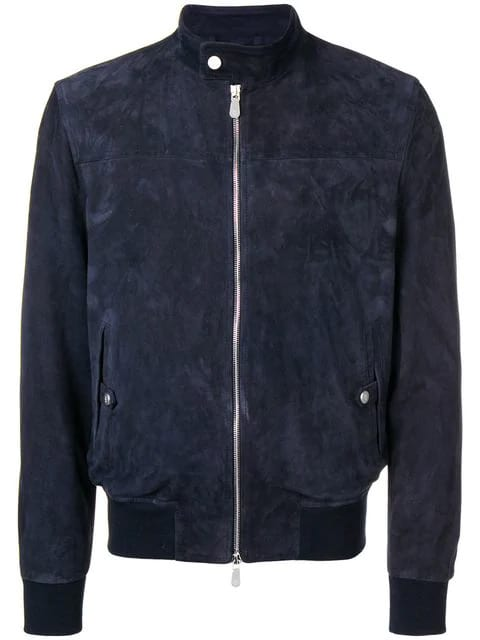 Eleventy Blue Suede Leather Jacket
