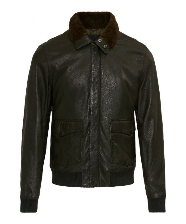 GC Astor Military Green Bomber Leather Jacket