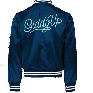 Giddy Up Blue Bomber Satin Jacket back
