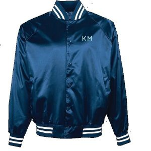 Giddy Up Blue Bomber Satin Jacket front
