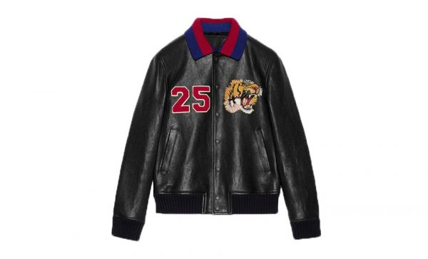 Gucci 25 Lion Logo Black leather Jacket
