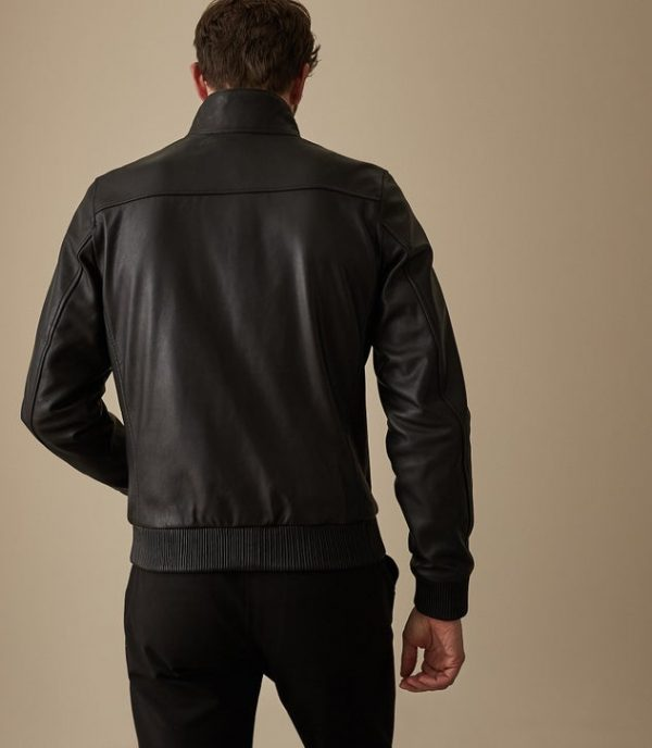 Harris Funnel Neck Black Leather Jacket back