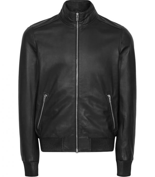 Harris Funnel Neck Black Leather Jacket front