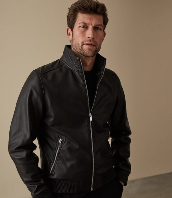 Harris Funnel Neck Black Leather Jacket look