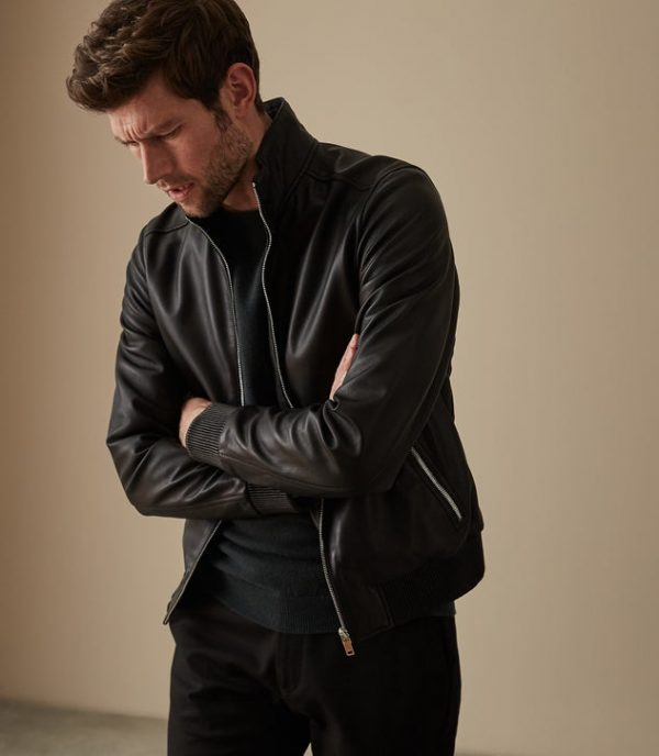 Harris Funnel Neck Black Leather Jacket side