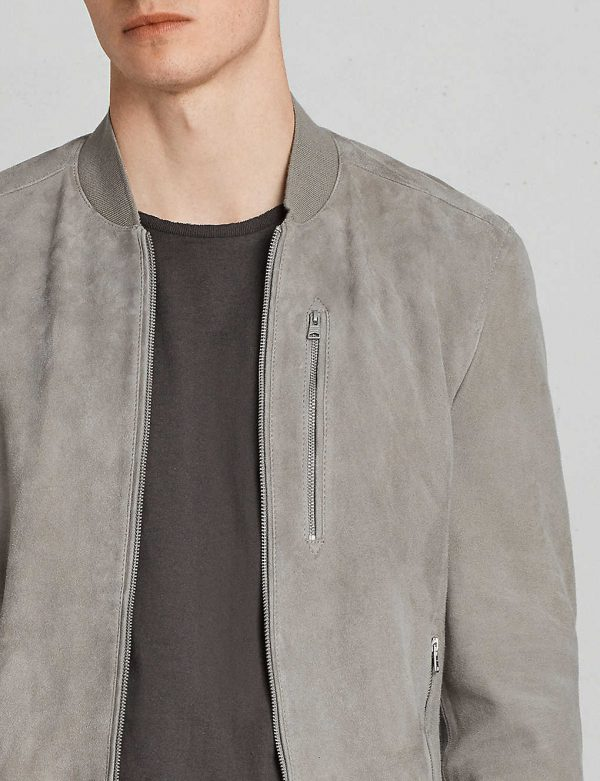 Kemble Suede Grey Bomber Jacket